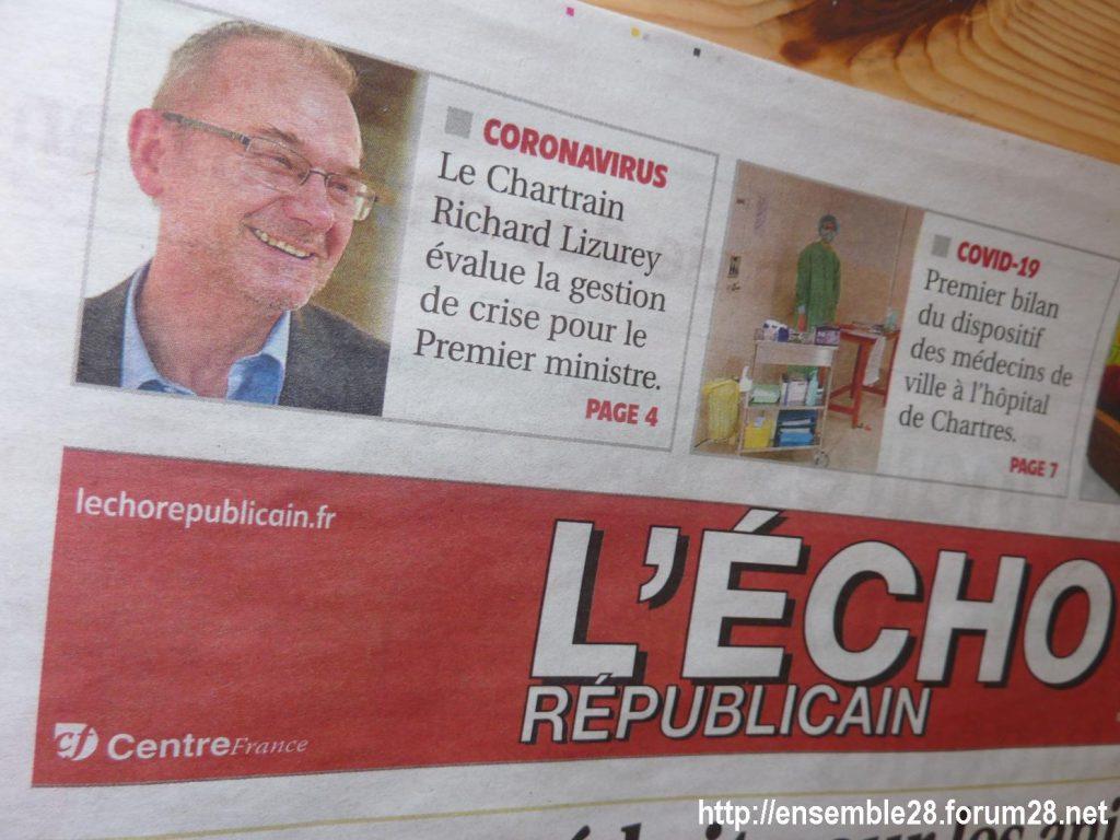 Lizurey Une de l'Écho 31-03-2020