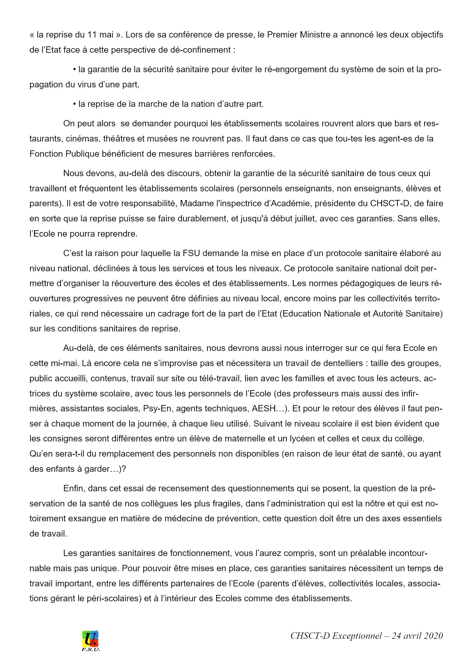 Éducation CHSCT-E&L 24-04-2020 Déclaration FSU 2x3
