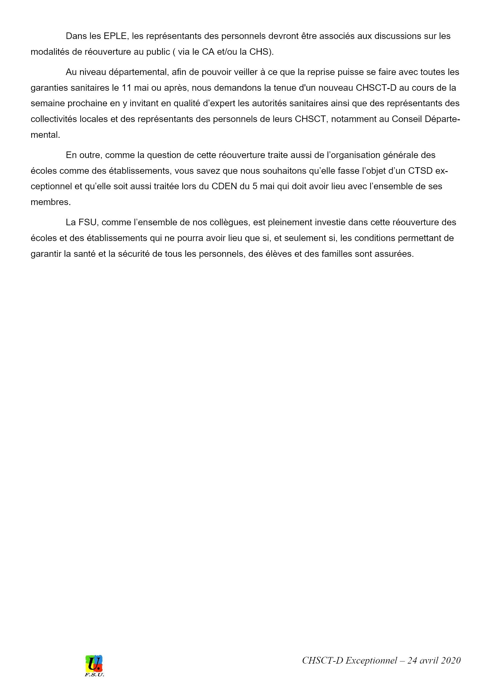 Éducation CHSCT-E&L 24-04-2020 Déclaration FSU 3x3