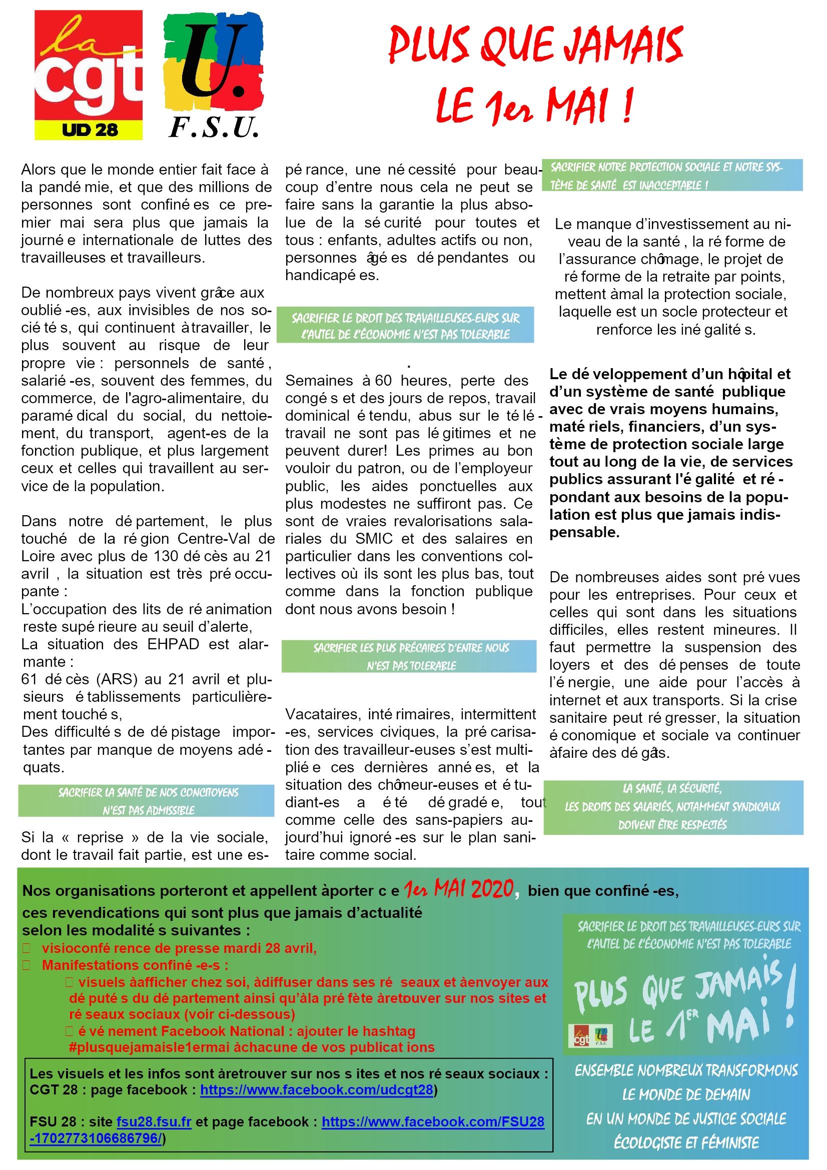 FSU28 CGT28 tract-1er-mai-2020
