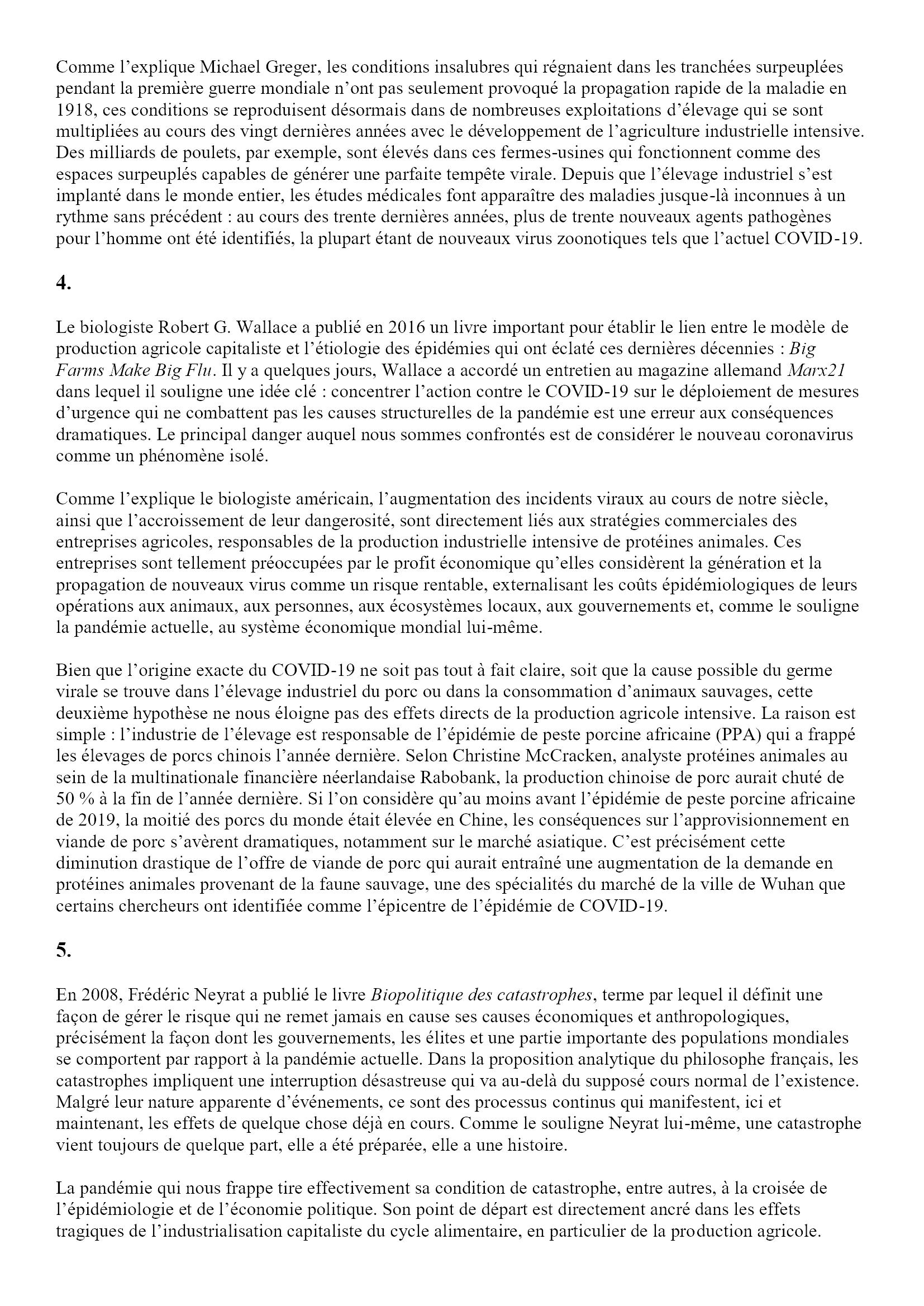 Causalité de la pandémie, caractéristiques de la catastrophe Angel Luis Lara 3x5