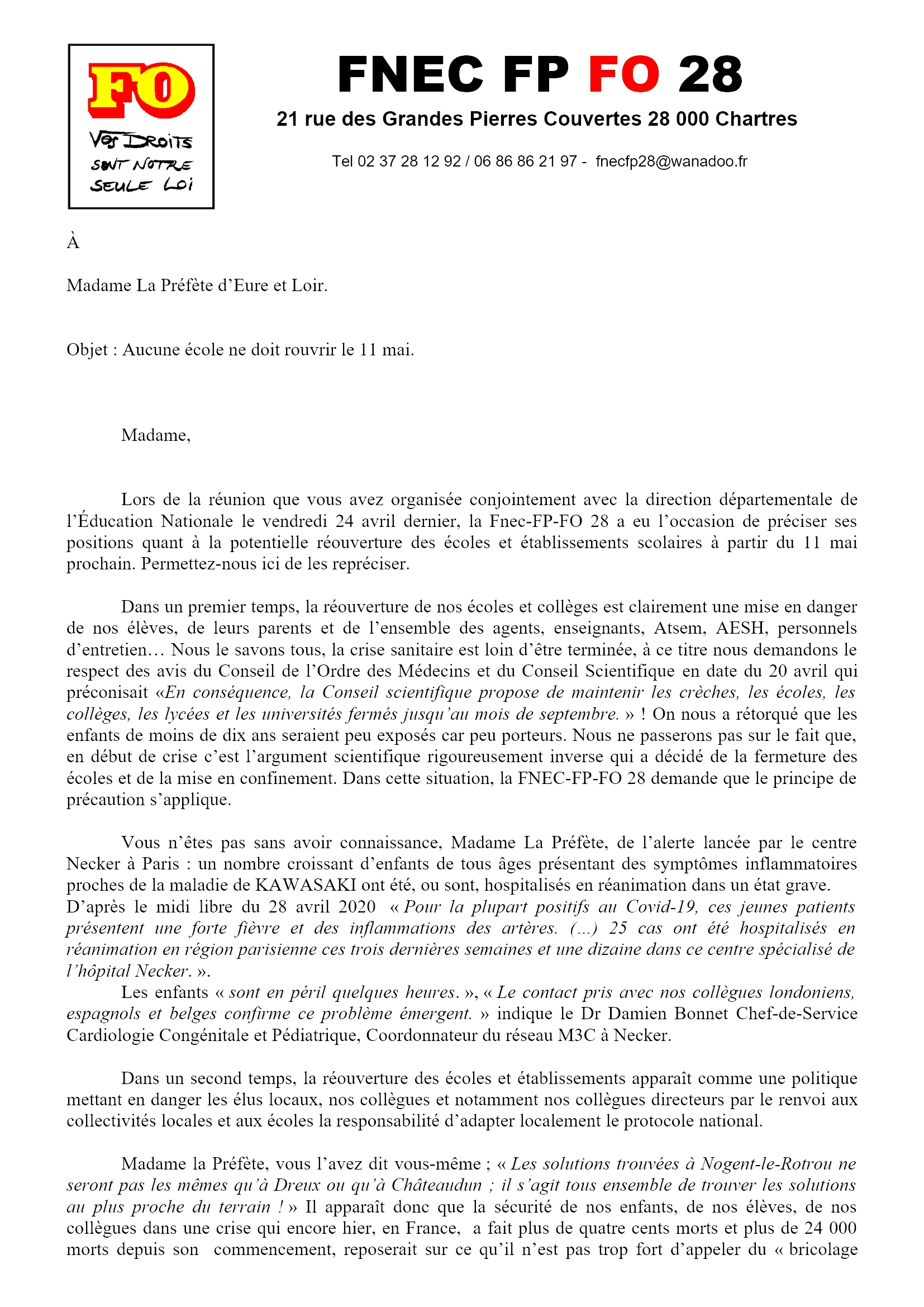 FNEC FP FO 28_courrier_prefecture 28-04-2020 1x2