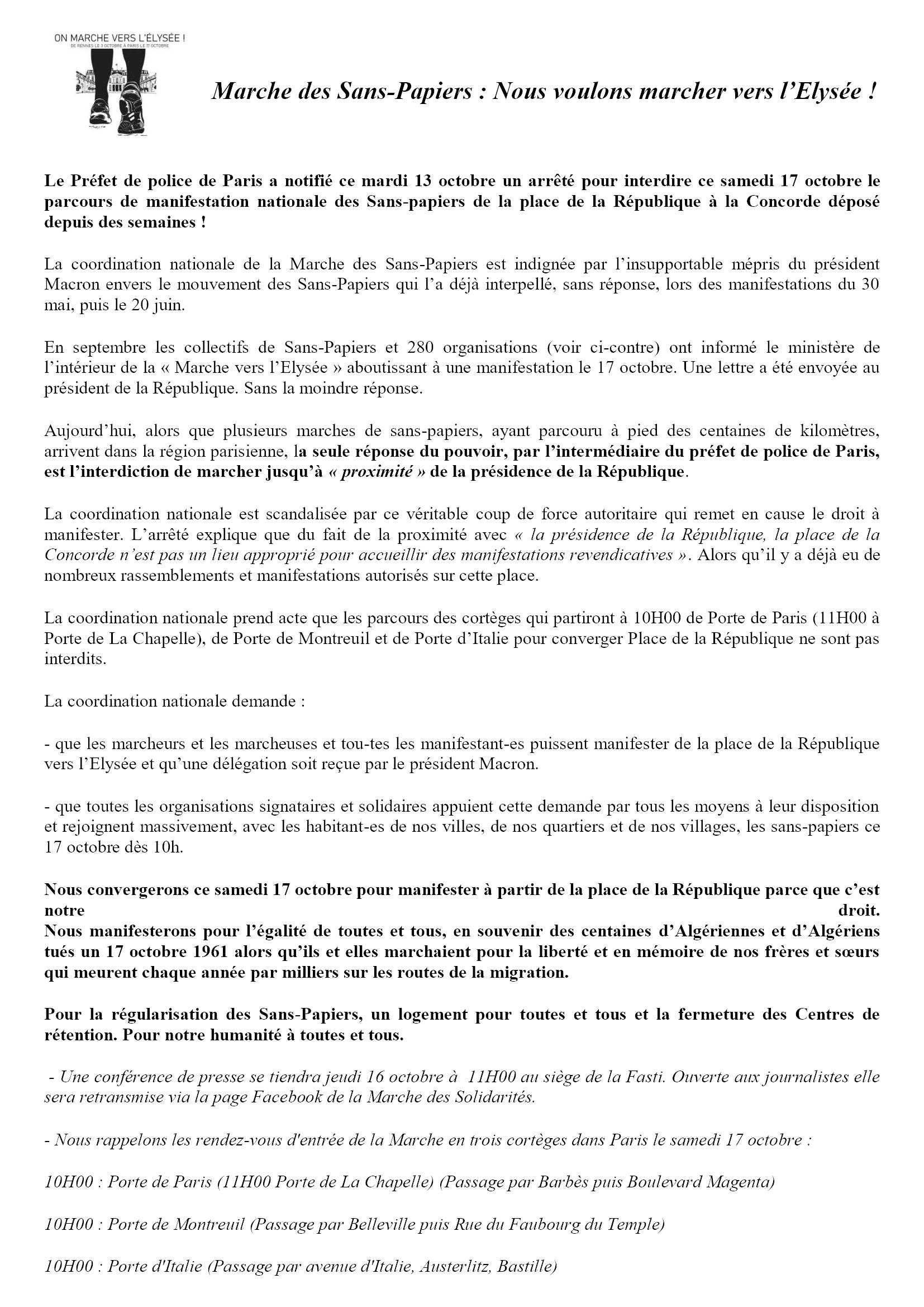 ComPress Marche nationale des Sans-Papiers 2020-10-15
