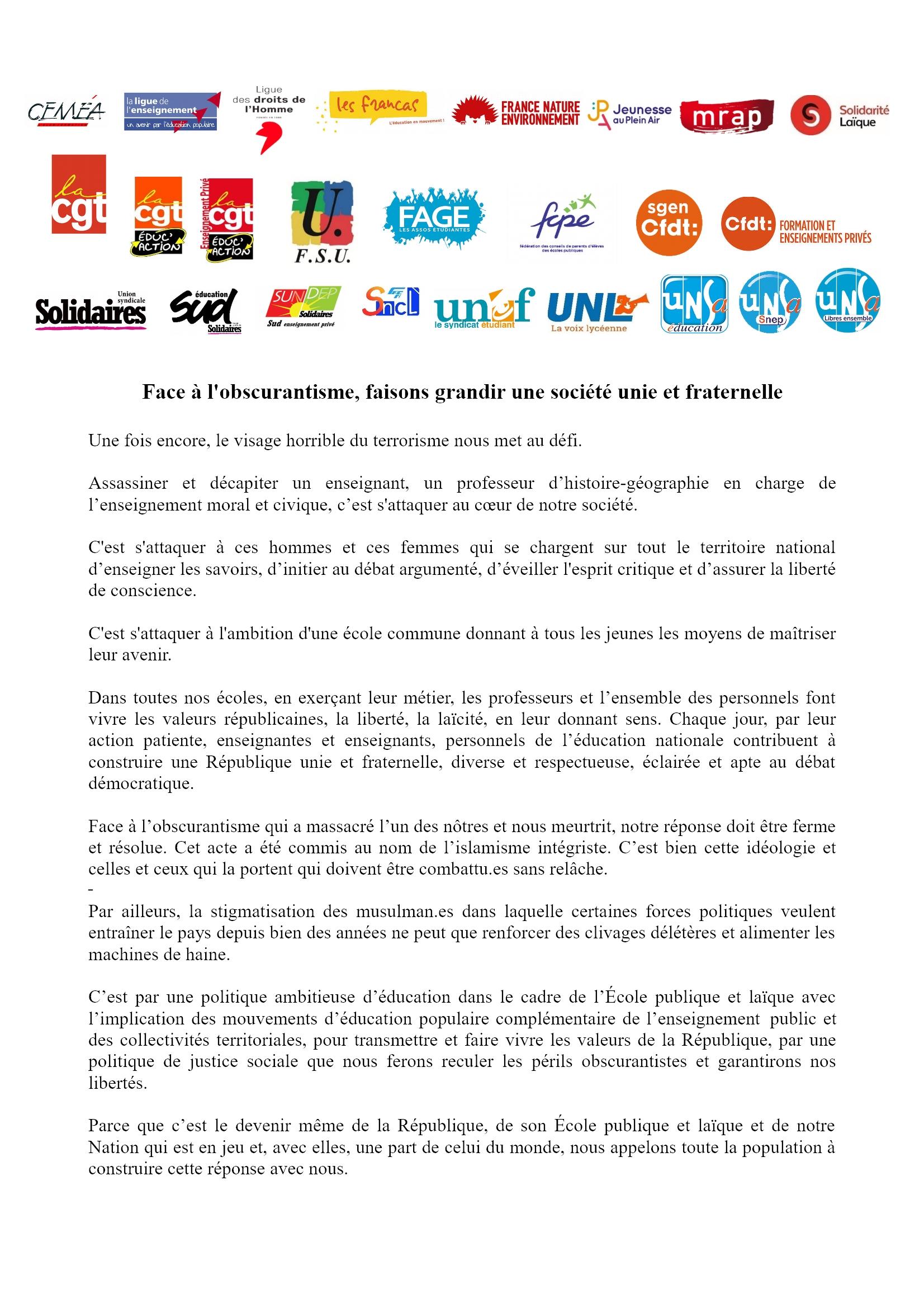 Communiqué unitaire Organisations Éducation post-Assassinat Conflans 28-10-2020