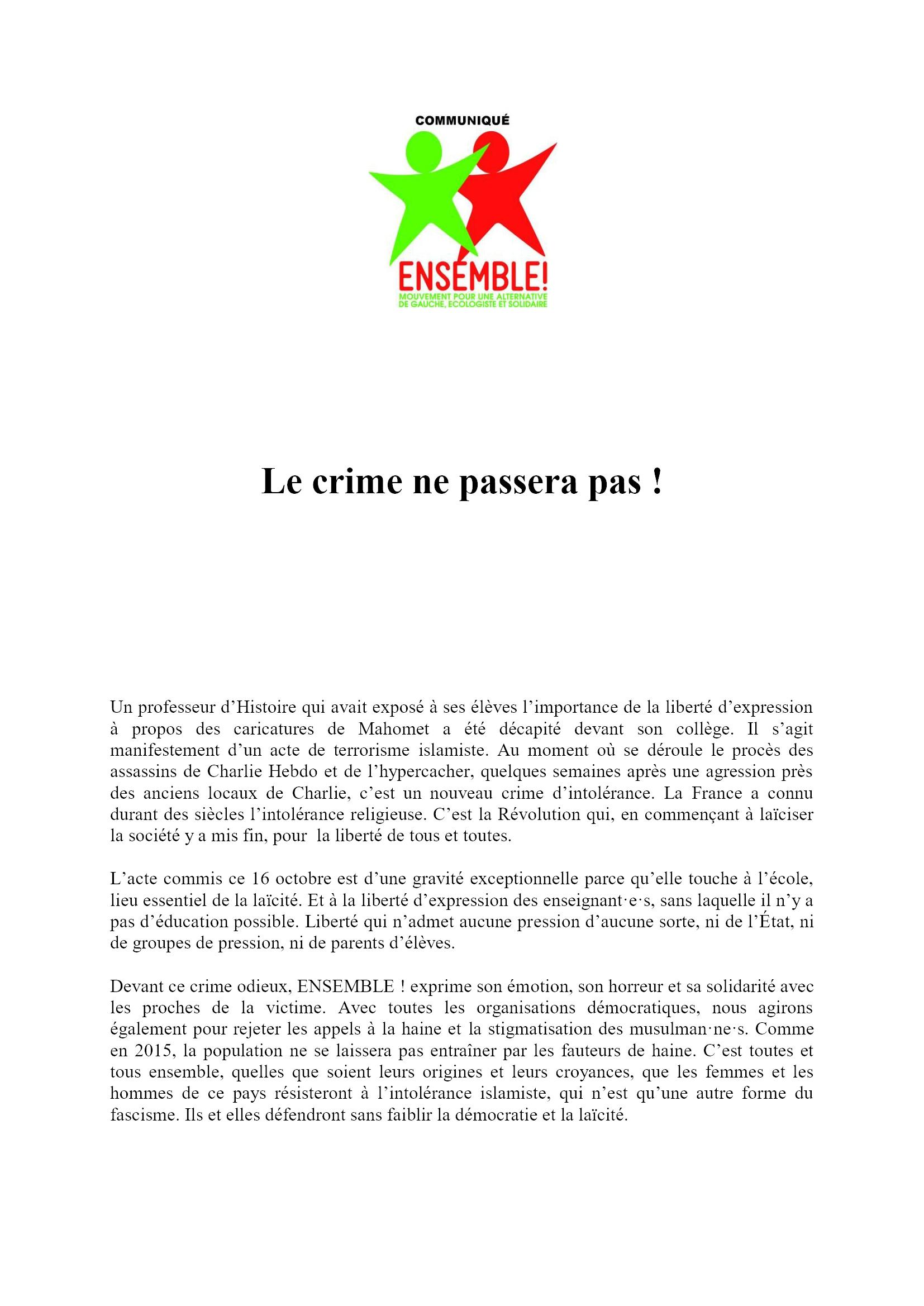 E! ComPress 17-10-2020 Le crime ne passera pas