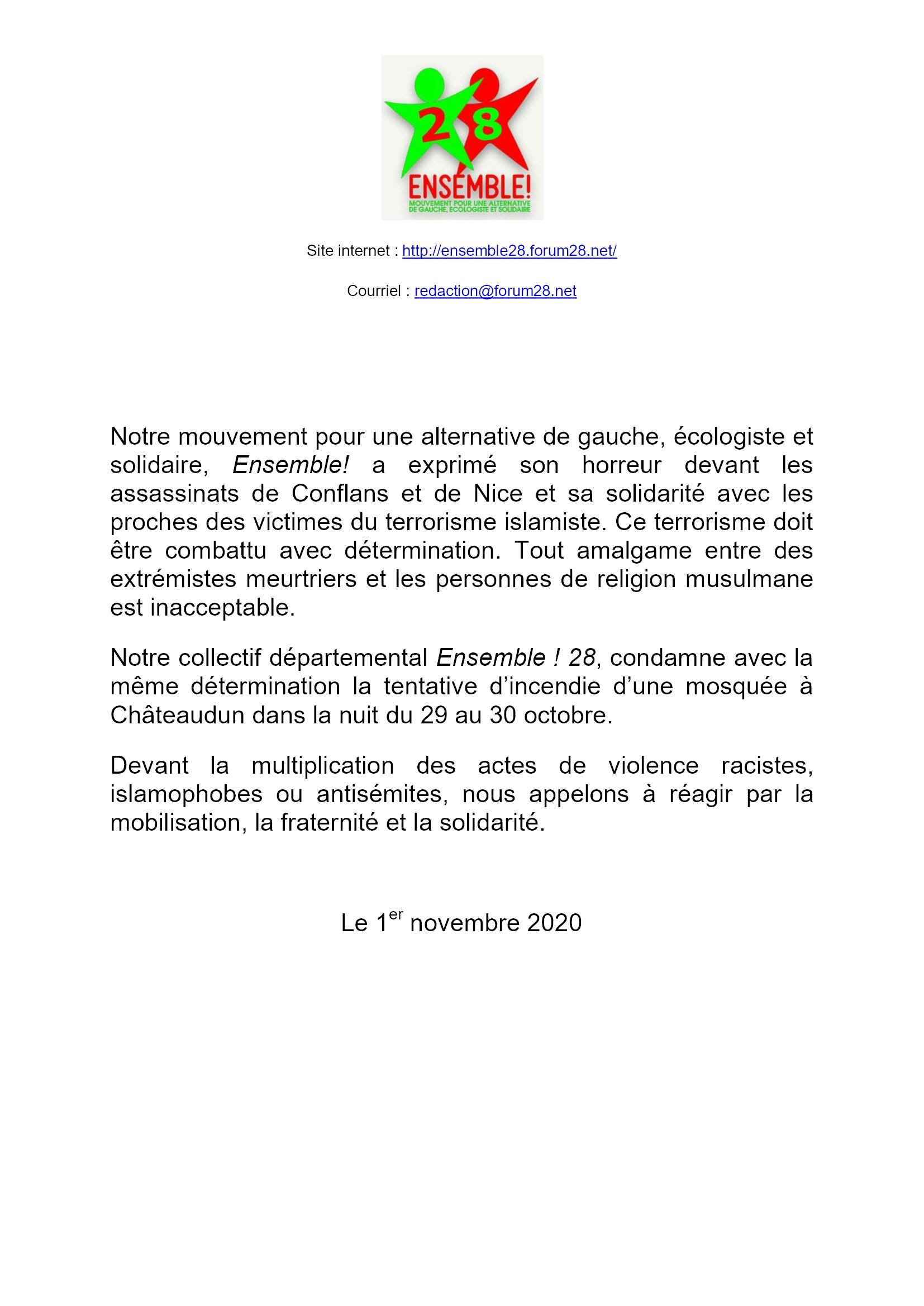 2020 11 01 Communiqué E!28 après tentative d'incendie d'une mosquée à Châteaudun