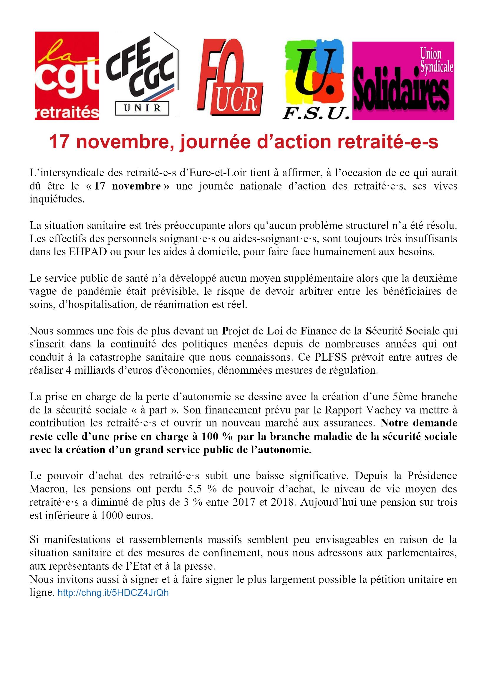 2020 11 17 Communiqué presse intersyndicale retraité-e-s 28