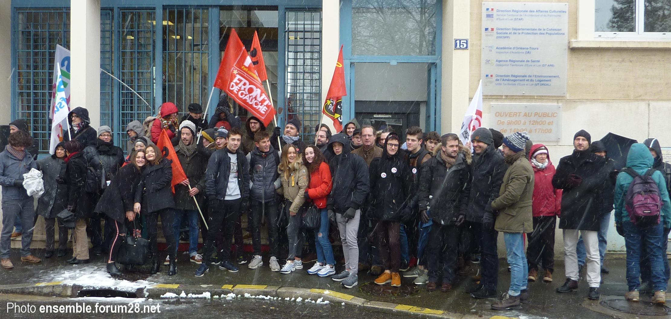 Chartres Rassemblement Grève Lycées Collèges 06-02-2018 SNES CGT SUD SGL 2