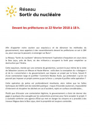 SDN Devant les préfectures ce 22 février 2018 à 18 h.