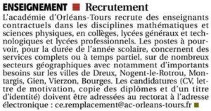 ER 2018-03-02 p4 Dreux Nogent-le-Rotrou Professeurs Maths Physique Contractuels Rectorat Orléans-Tours
