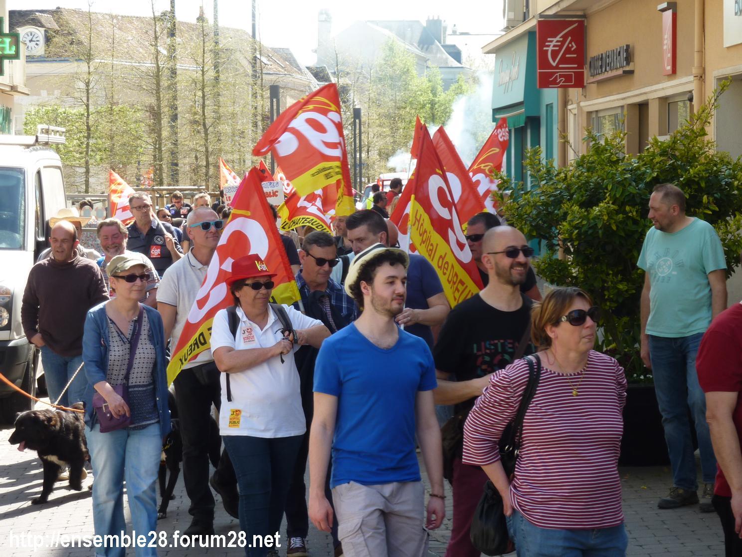19-04-2018 Chartres Manifestation Interprofessionnelle CGT Solidaires SNES-FSU n°03