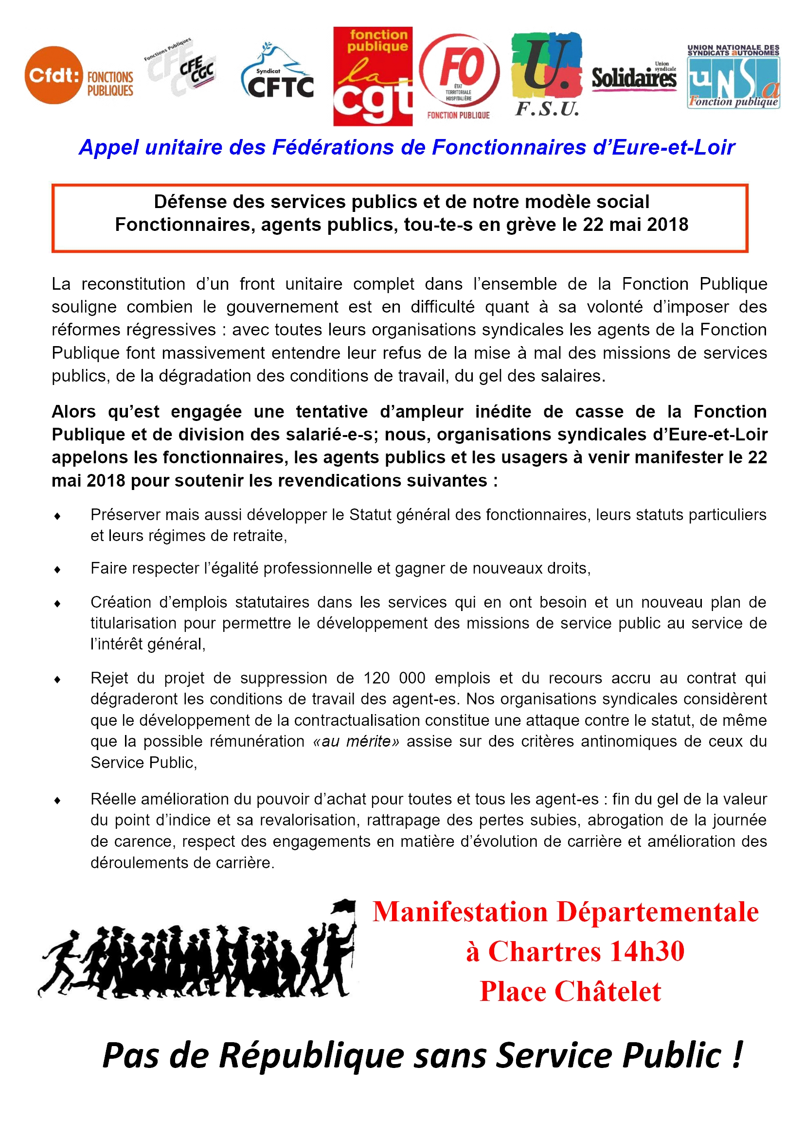 FP Grève Manif 22-05-2018 Appel unitaire E&L R