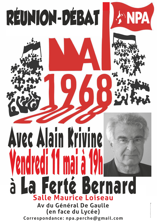 2018-05-11 Affiche Réunion Mai 68 La Ferté-Bernard avec A.Krivine