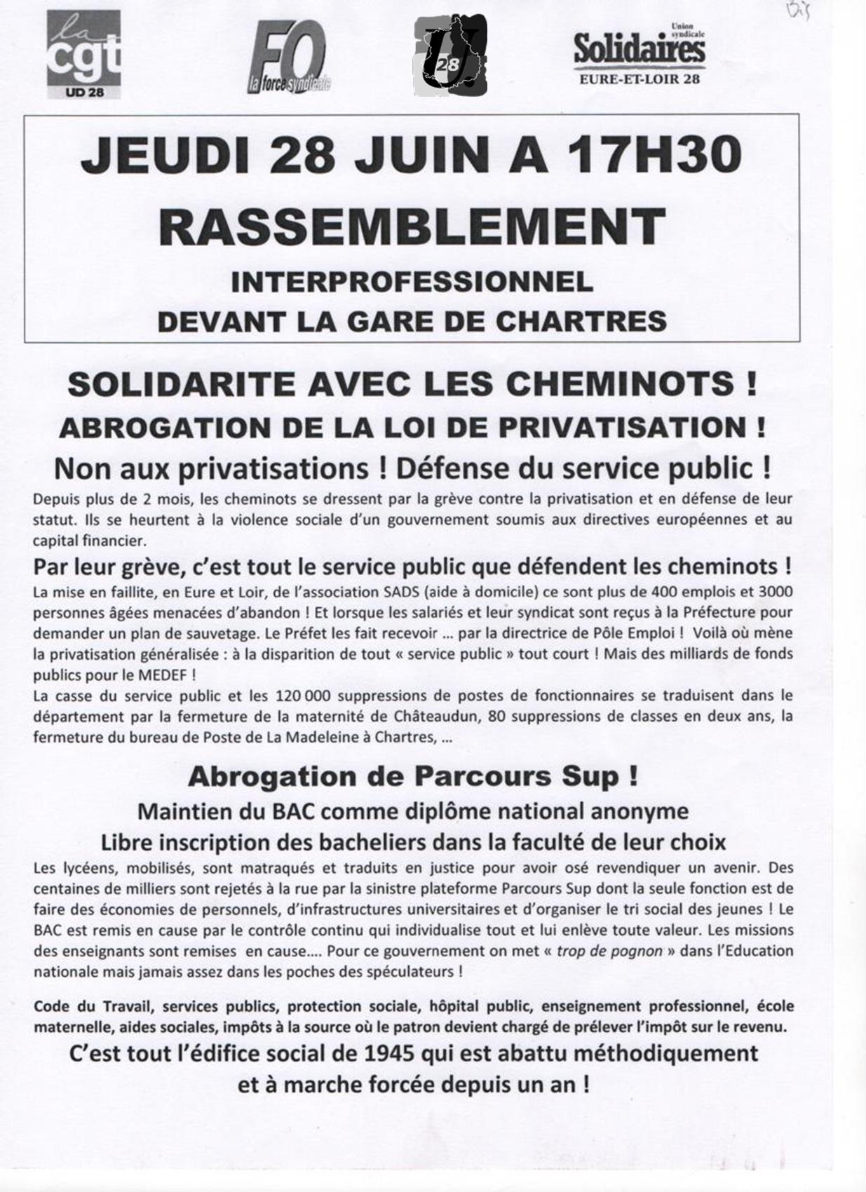 Chartres CGT FO FSU SolidairesTract Rasemblement 28 juin 2018 - 1x2