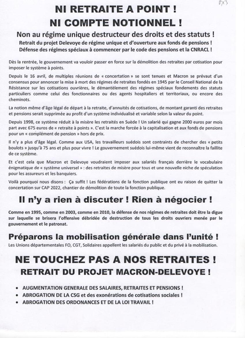 Chartres CGT FO FSU SolidairesTract Rasemblement 28 juin 2018 - 2x2