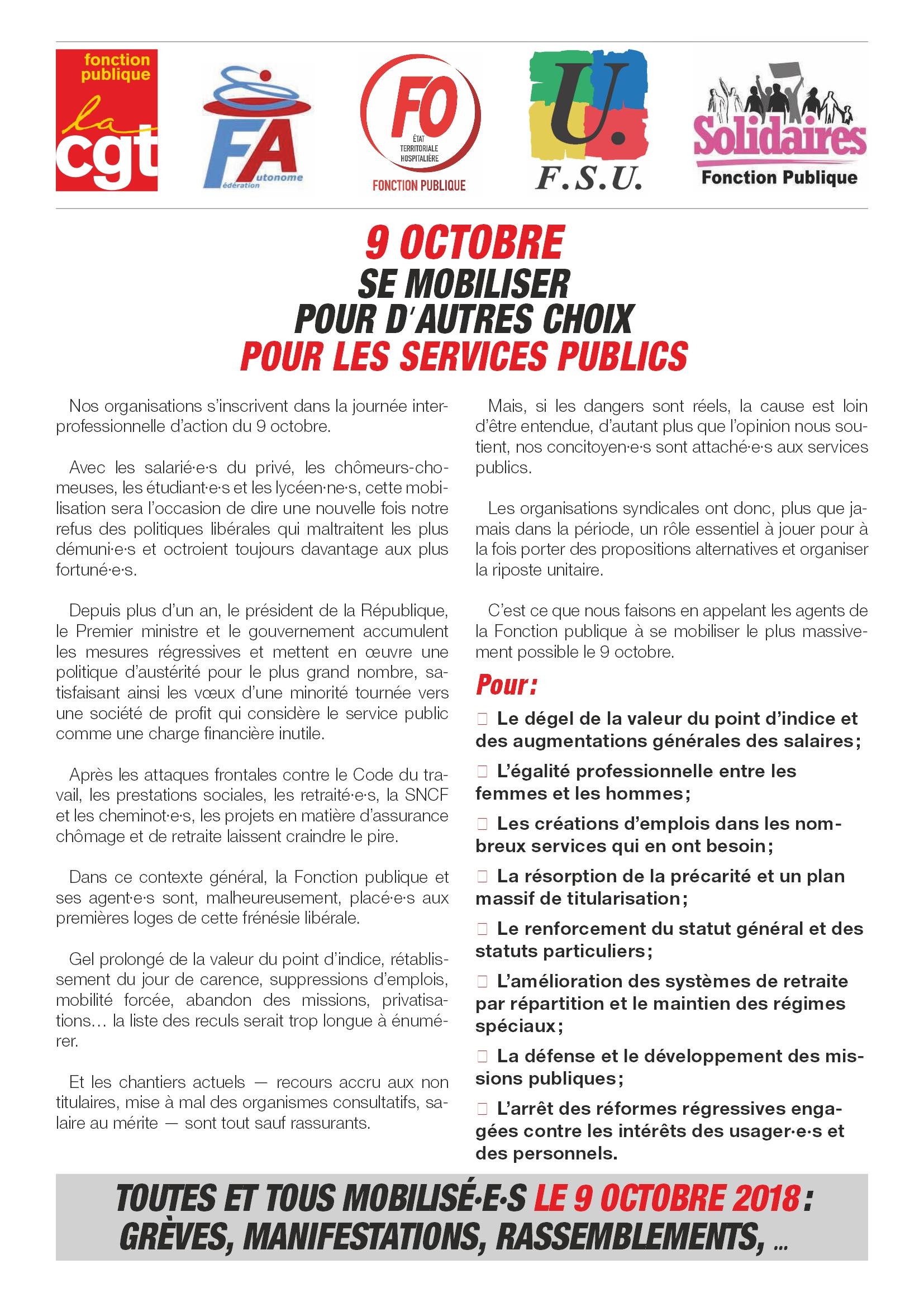 9 octobre 2018 Appel national Intersyndicale FP