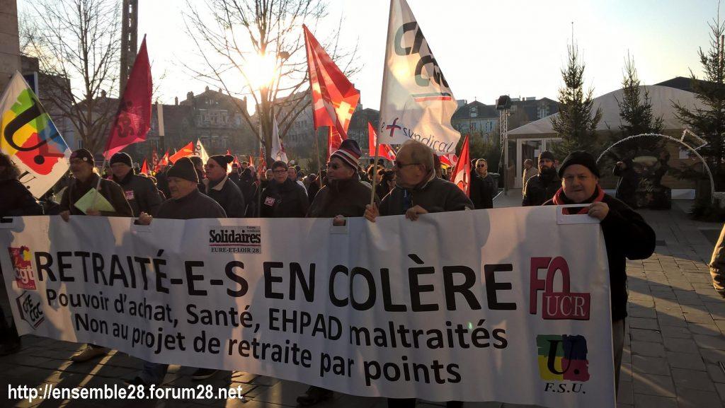 Chartres 14-12-2018 Manifestation CGT FO FSU Solidaires Gilets-Jaunes 13