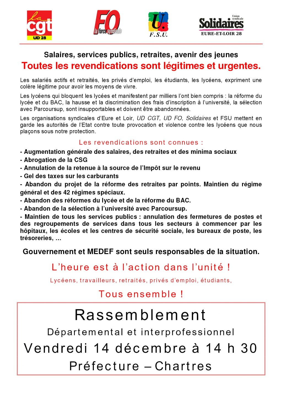 E&L tract 14-12-2018 Rassemblement CGT FO FSU Solidaires