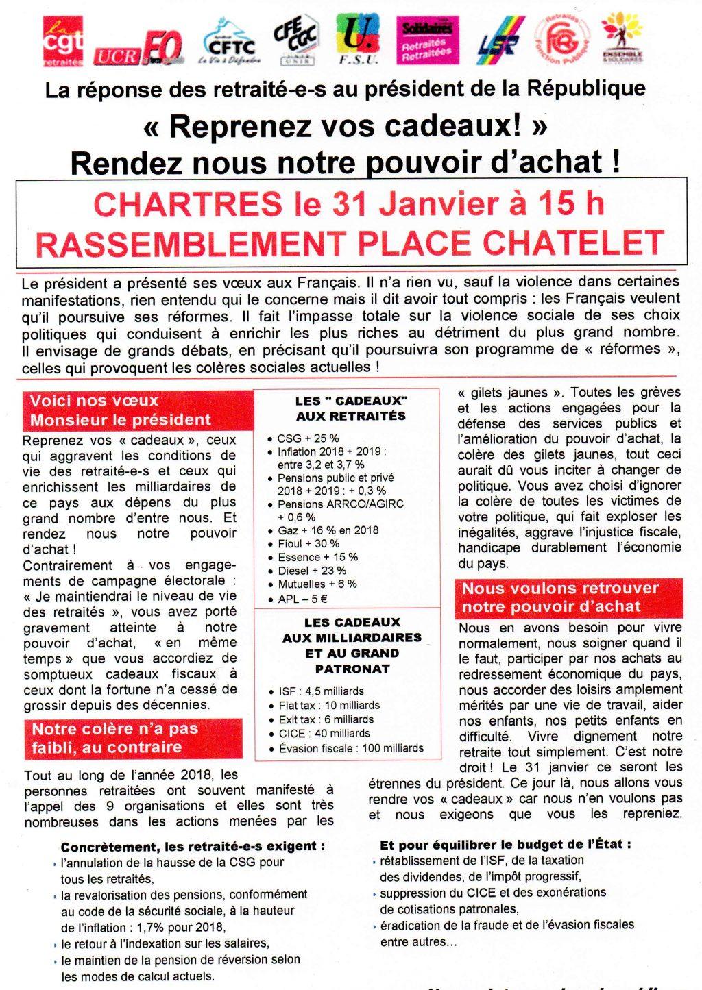 2019 01 31 Tract Rassemblemennt Retraités Chartres Intersyndicale