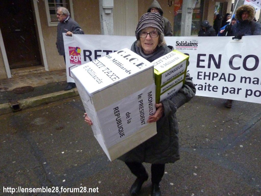 Chartres 31-01-2019 Rassemblement Intersyndicale Rétraités 02