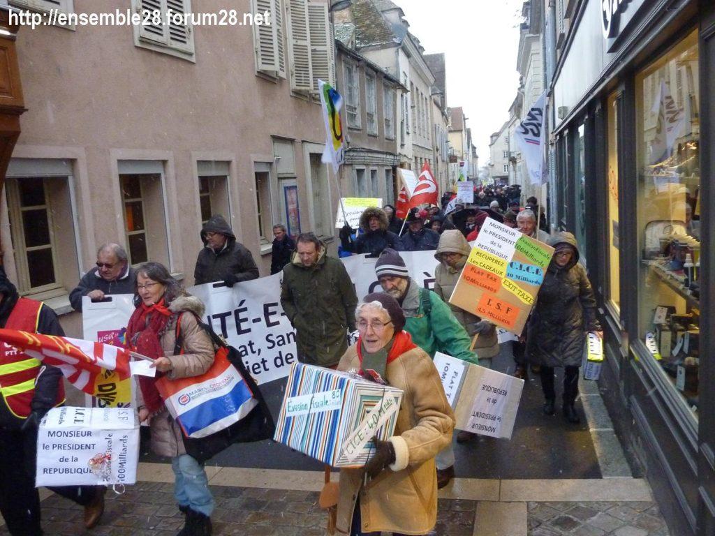 Chartres 31-01-2019 Rassemblement Intersyndicale Rétraités 03