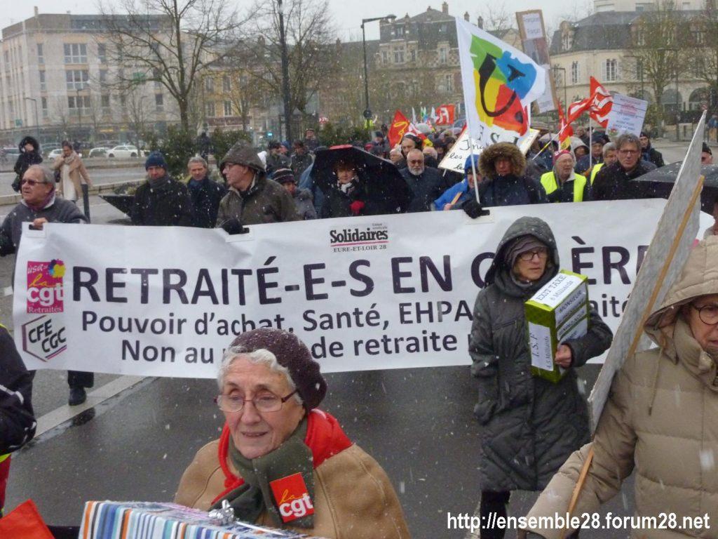Chartres 31-01-2019 Rassemblement Intersyndicale Rétraités 06