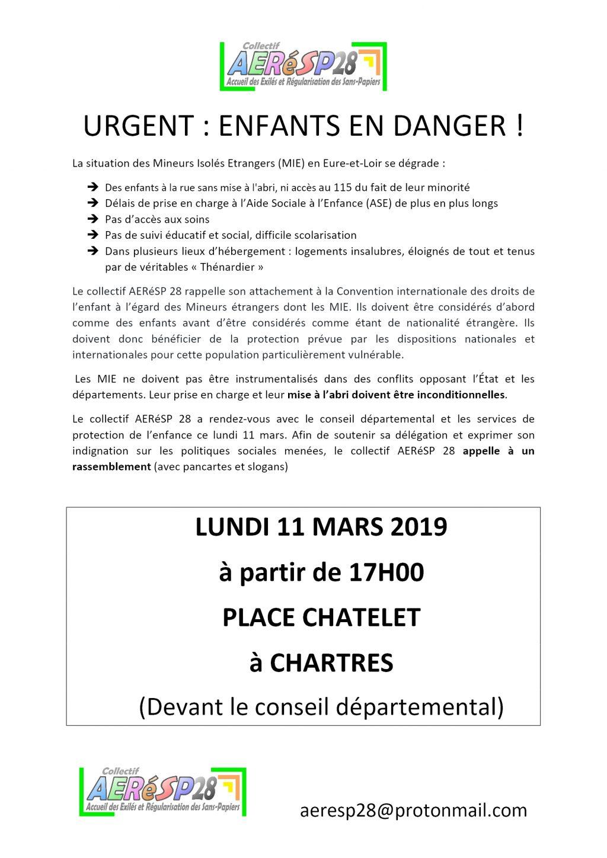 Appel Mineurs isolés étrangers Rassemblement AERéSP 11-03-2019 Chartres