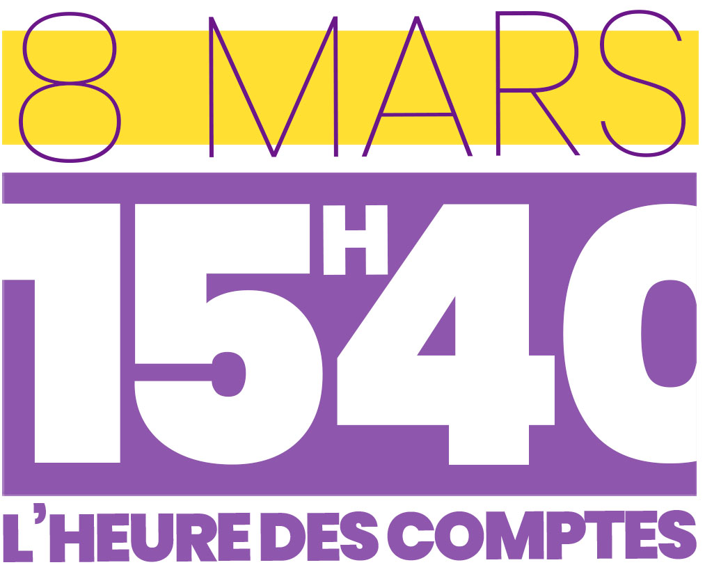 Logo 8 mars 15h40 l'heure des comptes