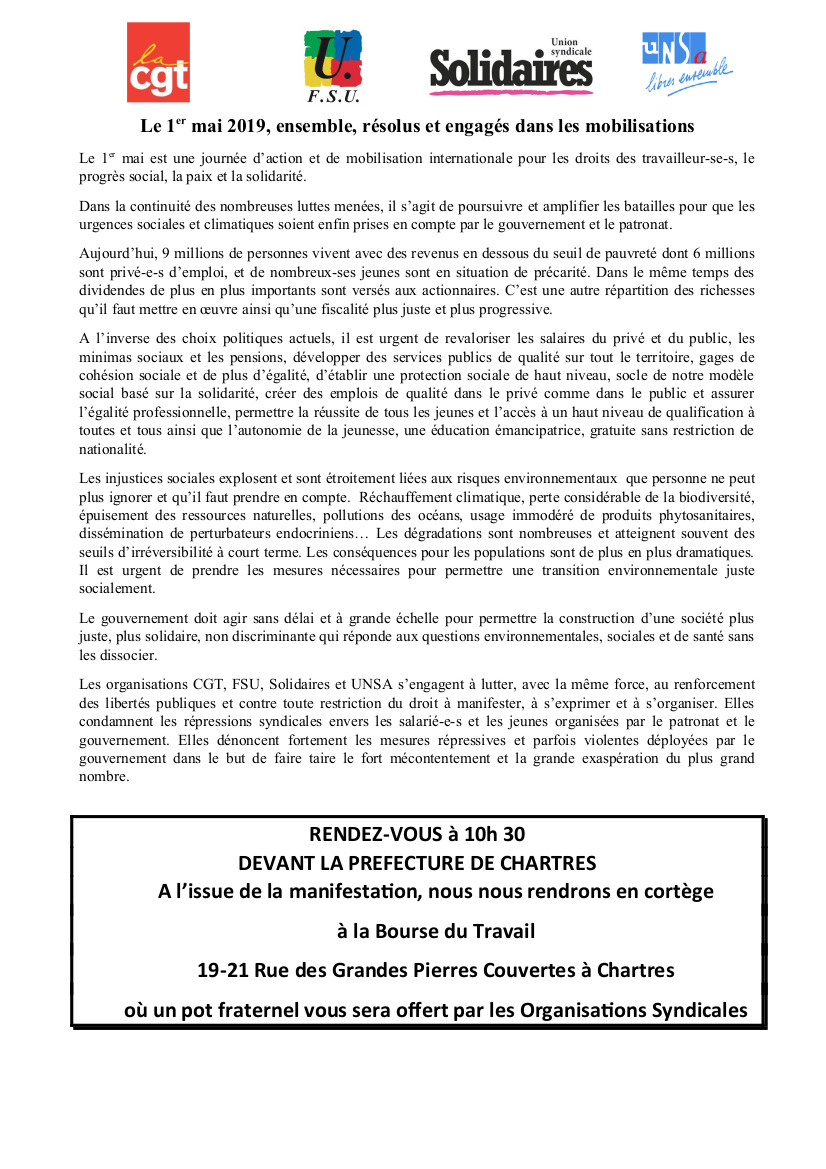 1er Mai 2019 Chartres Appel CGT FSU Solidaires UNSA
