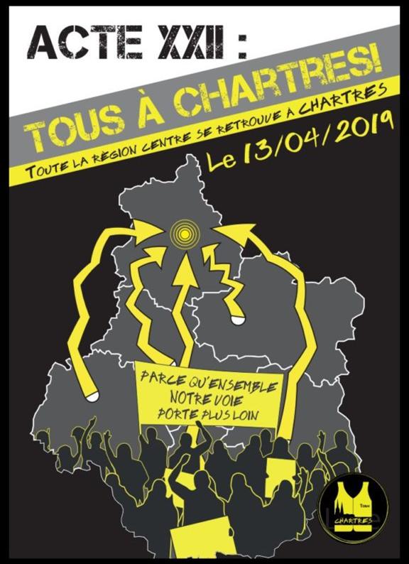 Gilets Jaunes Chartres Acte XXII 13-04-2019 [Affiche]