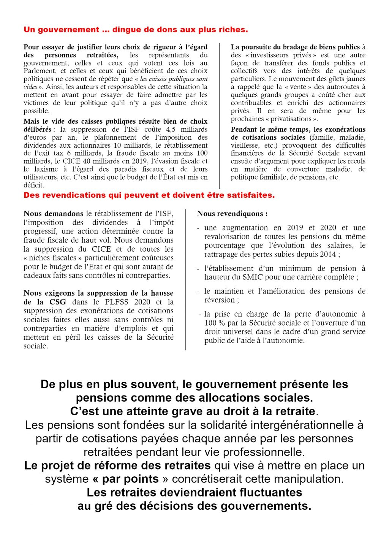 Retraités intersyndicale E&L Marche 2019-04-11 Tract 2x2