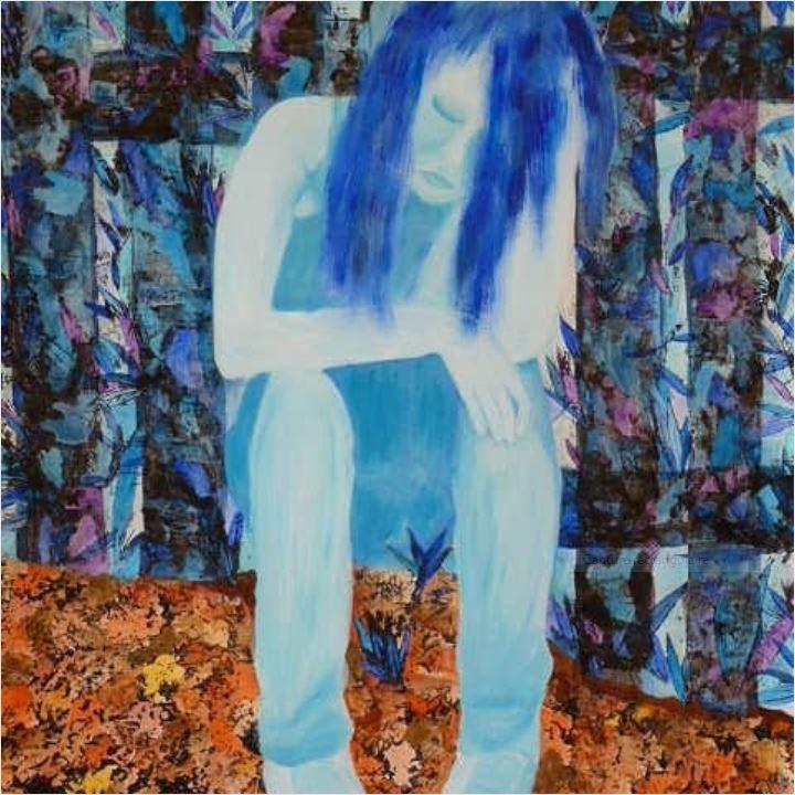 Adolescents bleus. Traces, empreintes et gesso coloré. Image de la solitude et de l'ennui [Anne Delaby]
