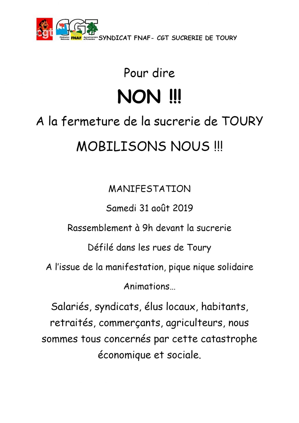 Tract Toury Sucrerie CGT Rassemblement 31-08-2019 Verso