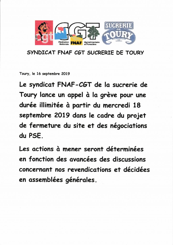 Toury Cristal-Union Grève illimitée campagne 2019
