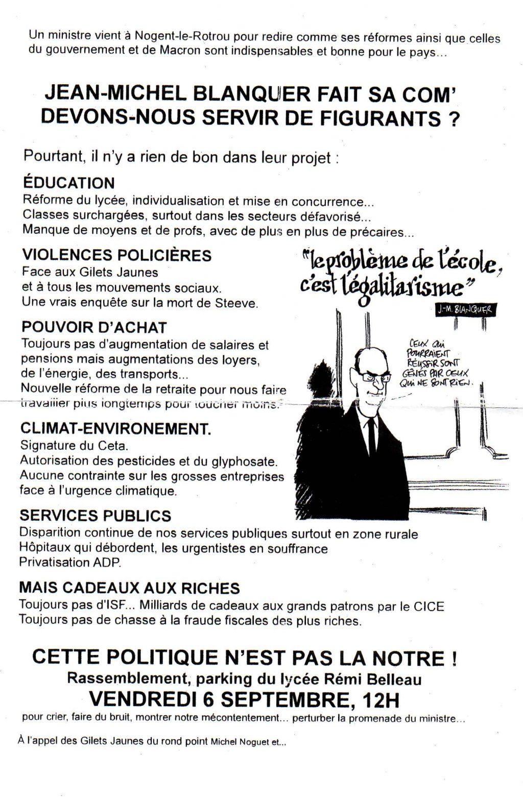 Tract Gilest Jaunes Nogent-le-Rotrou Visite Blanquer 06-09-2019314