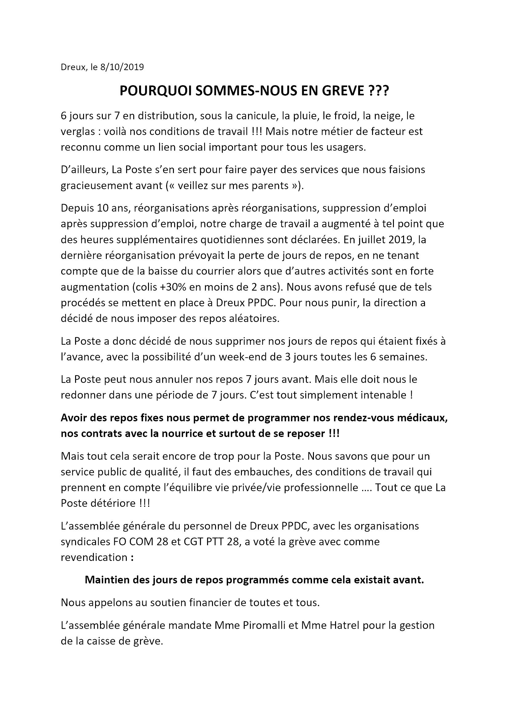 Tract à la population Dreux Grève Postiers FO CGT