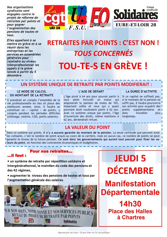 05-12-2019 Grève Manifestation Eure-et-Loir [Tract d'appel]