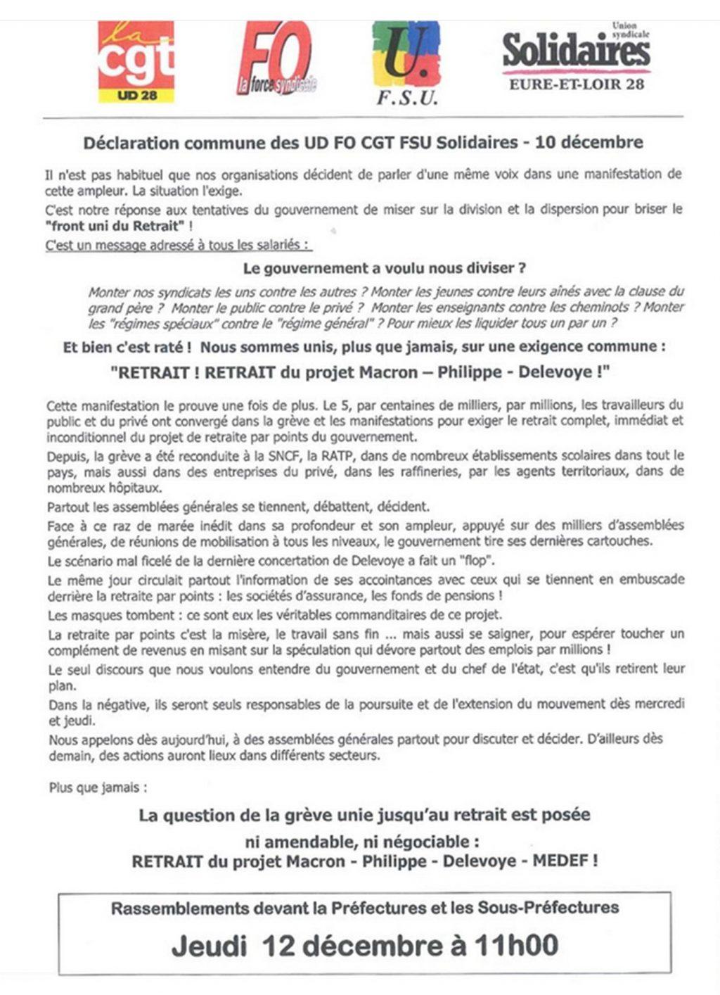 Appel Intersyndicale 28 pour le 12 démbre Sous-préfectures