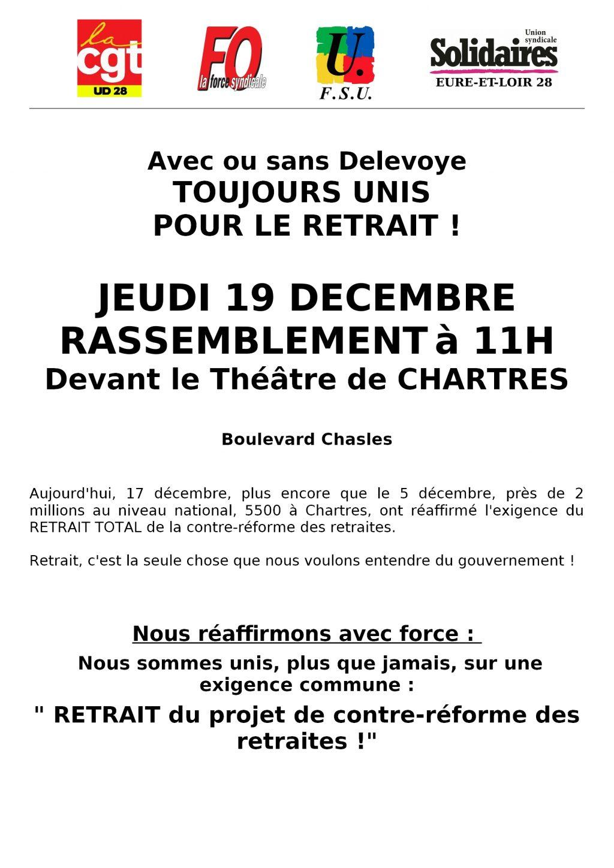 Chartres Retraites Appel Intersyndicale-28 pour le 19-12-2019