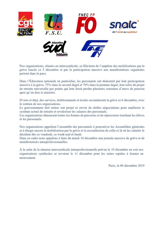 Communiqué Intersyndical Éducation_06_12_2019
