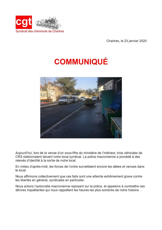 2020-01-23 CGT Cheminots Chartres Communiqué Visite Nuñez