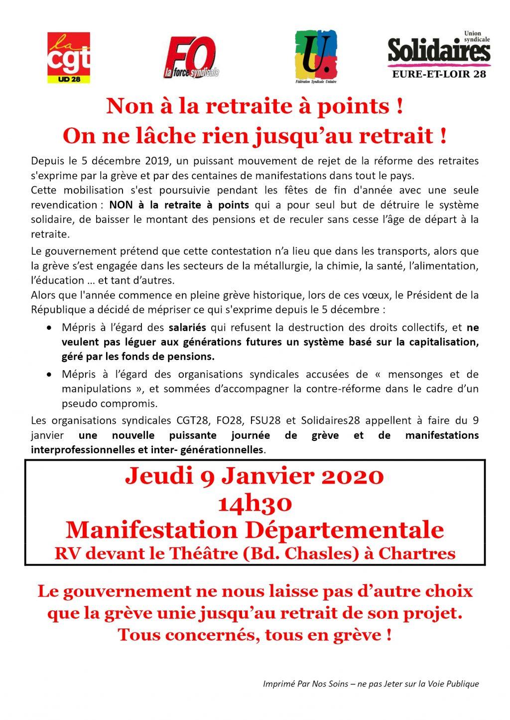 Appel Intersyndicale 28 pour 09-01-2020