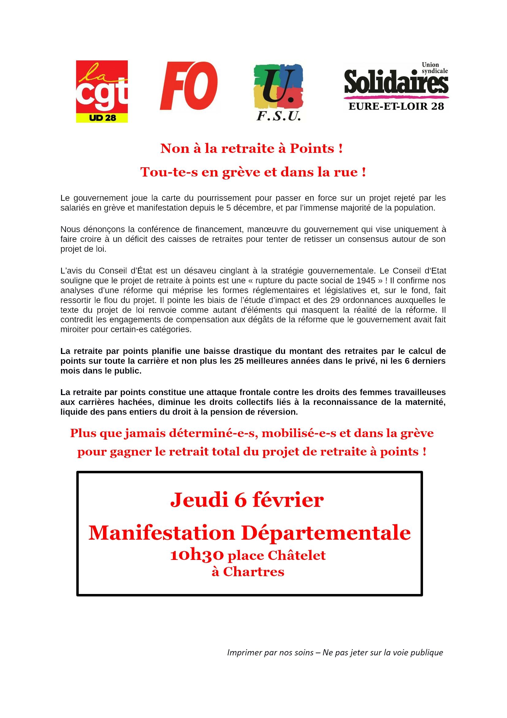 Appel Intersyndicale E&L pour 6 février 2020