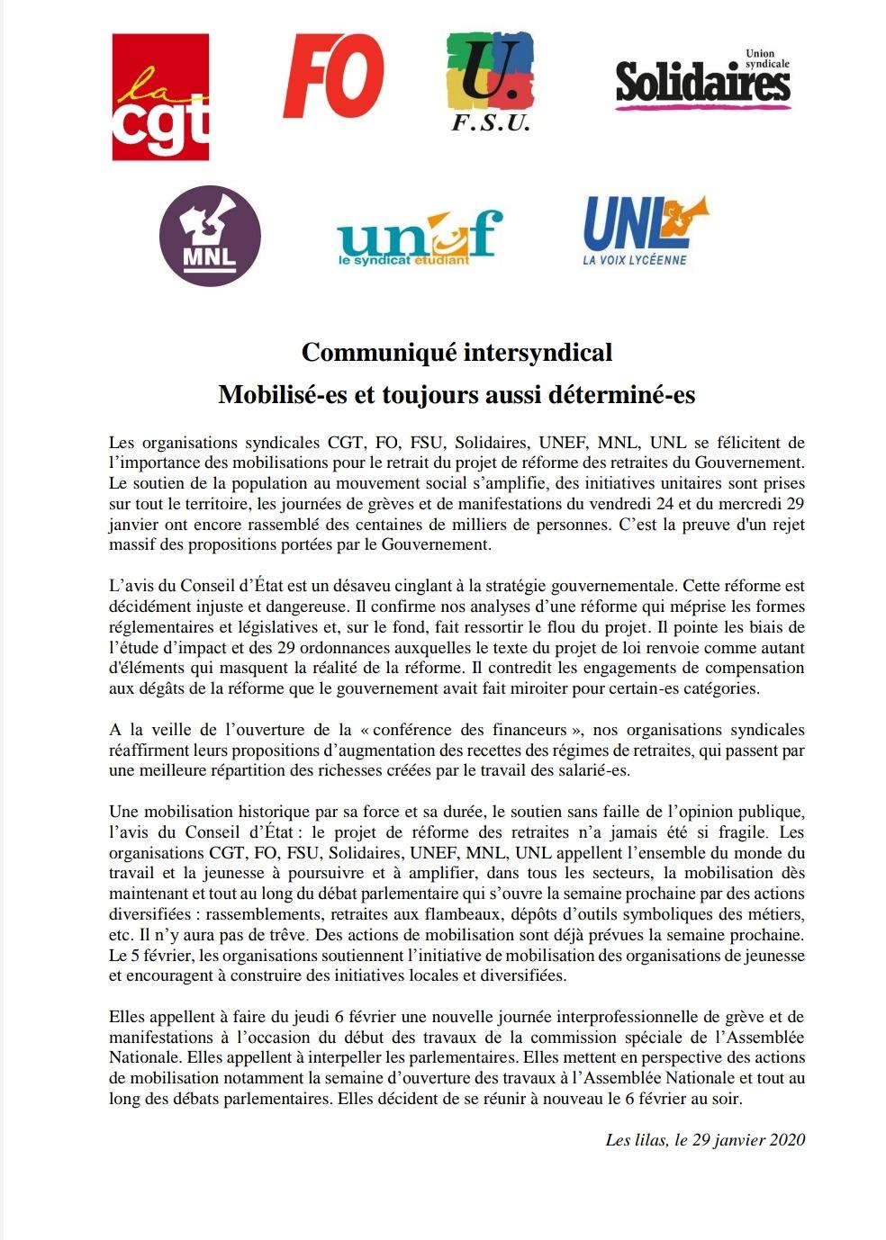 Appel Intersyndicale nationale pour le 6 février