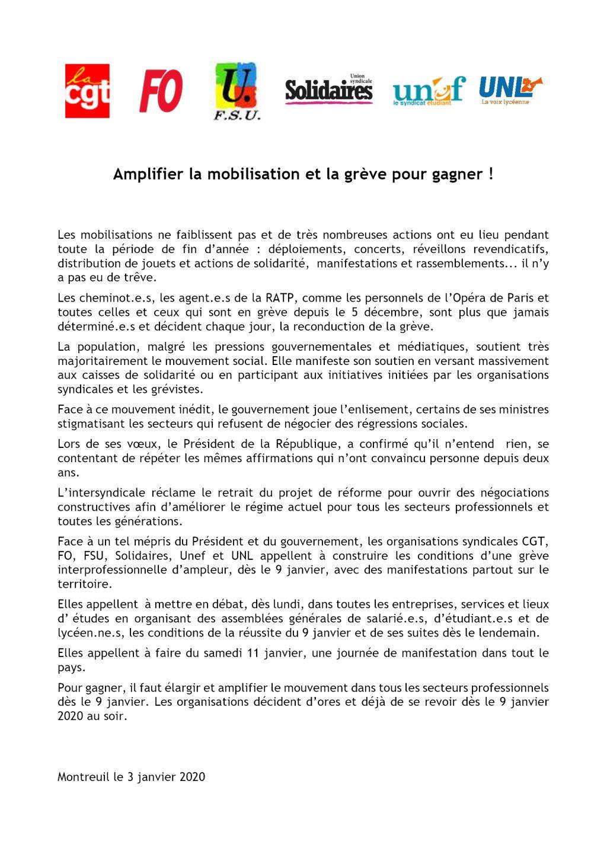 Communiqué Intersyndicale nationale du 03 01 2020 pour 9 et 11 janvier 2020
