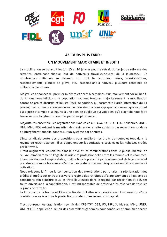 Communiqué intersyndicale nationale du15-01-2020 pour 22-23-24 janvier R