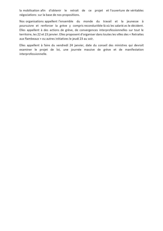 Communiqué intersyndicale nationale du15-01-2020 pour 22-23-24 janvier V