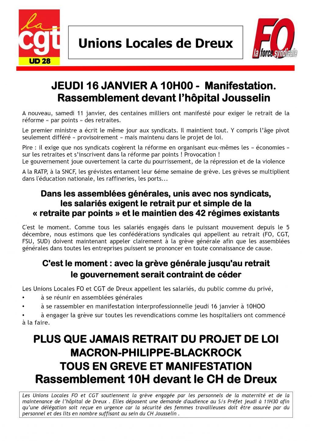 Dreux Rassemblement CGT FO 16-01-2020 devant Hôpital