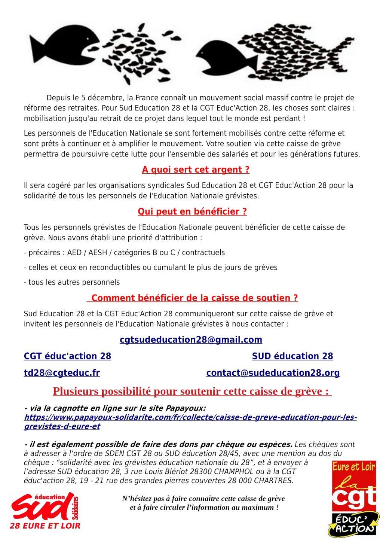 E&L Caisse de grève Éducation SUD-28 CGT-Éduc-action-28 [Affiche]