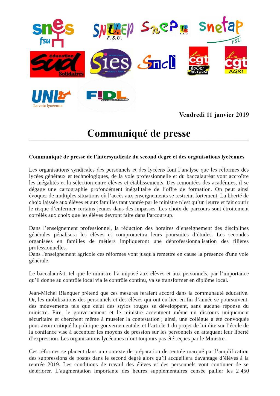 Intersyndicale nationale Éducation 11 pour Grève du 24 janvier R